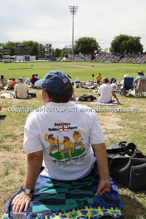 A Barmy Army English cricket fan during the National Bank Test Match Series, New Zealand v England, 2nd day of 1st Test at Seddon Park, Hamilton, New Zealand. Thursday 6 March 2008. Photo: Stephen Barker/PHOTOSPORT