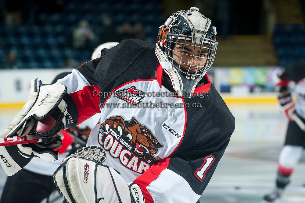 KELOWNA, CANADA - DECEMBER 5: Tavin Grant #1 of Prince George Cougars skates during warm up against the Kelowna Rockets on December 5, 2014 at Prospera Place in Kelowna, British Columbia, Canada.  (Photo by Marissa Baecker/Shoot the Breeze)  *** Local Caption *** Tavin Grant;