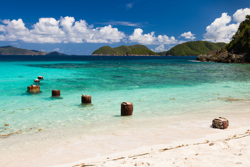 The remains of an old pier takes centerstage at Denis Bay in Virgin Islands National Park, St. John, USVI.