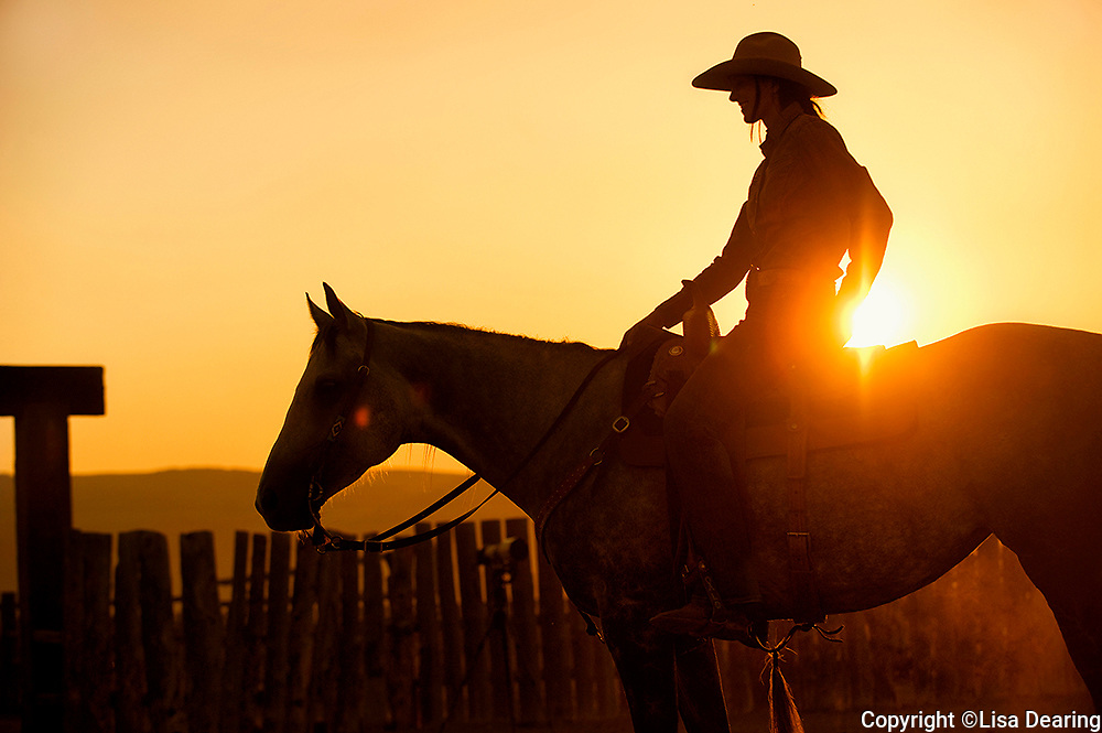 Cowgirl on Horse in Round Pen at Sunset