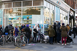 © Licensed to London News Pictures. 16/03/2020. London, UK. Shoppers queue outside Savers store in north London for toilet rolls. 35 coronavirus victims have died and 1,372 cases have tested positive of the virus in the UK. Photo credit: Dinendra Haria/LNP