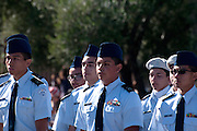 Participants in an ROTC youth group march in the Veterans Day Parade, which honors American military veterans, in Tucson, Arizona, USA.