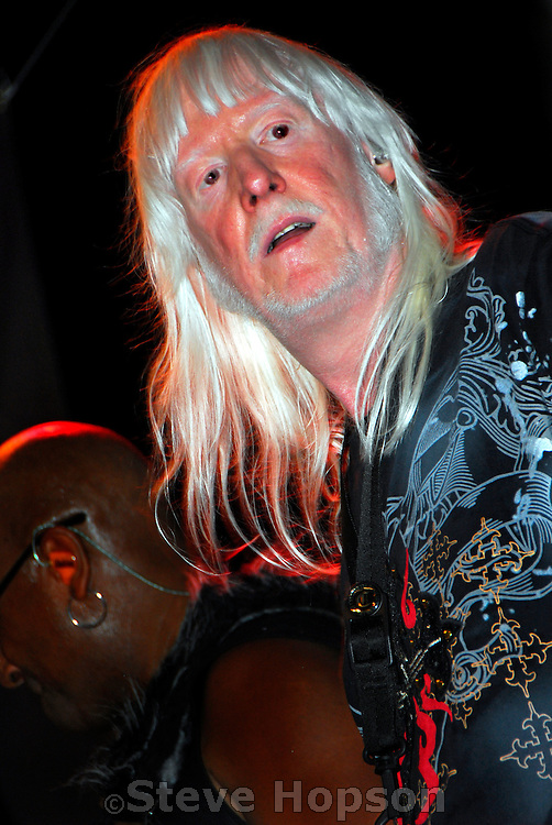 "Edgar Winter performing at Bat Fest in Austin Texas, August 30 2008. Edgar Winter (b. 1946) is a keyboard player, vocalist, saxophonist and percussionist; albino; and brother of bluesman Johnny Winter. The Edgar Winter Group recorded the #1 hit instrumental ""Frankenstein"" in 1972 and pioneered the use of the synthesizer as a lead instrument. The band also recorded the hit songs, ""Free Ride"" and ""Easy Street"".  Bat Fest is a street festival held in honor of Austin's colony of Mexican Free-Tailed bats, which is the world's largest urban bat colony."