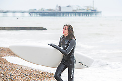 © Licensed to London News Pictures. 07/04/2018. Brighton, UK. Members of the Brighton Surf Life Saving Club take part in a training session as milder weather is hitting Brighton and Hove and the South Coast. Photo credit: Hugo Michiels/LNP