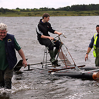 Frank Finucane and Pat Linneen give Conor Finucane a push off at the Kilmihil Festival of Fun at the weekend.<br /> Photograph by Yvonne Vaughan