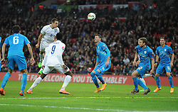 Phil Jagielka of England (Everton) comes close with a header in the box. - Photo mandatory by-line: Alex James/JMP - Mobile: 07966 386802 - 15/11/2014 - SPORT - Football - London - Wembley - England v Slovenia - EURO 2016 Qualifier
