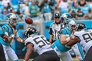 Sunday, October 6, 2019; Charlotte, N.C., USA;  Carolina Panthers quarterback Kyle Allen (7) tosses a shuffle pass to  wide receiver Curtis Samuel (10) during an NFL game against the Jacksonville Jaguars at Bank of America Stadium. The Carolina Panthers beat the Jacksonville Jaguars 34-27. (Brian Villanueva/Image of Sport)