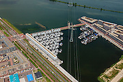 Nederland, Noord-Holland, Amsterdam, 14-06-2012; Steigereiland, IJburg, overzicht drijvende huizen aan de IJburglaan(l)/Haringbuisdijk. Strekdam (t)..New constructed urban development, residential district IJburg , floating houses, detail..luchtfoto (toeslag), aerial photo (additional fee required).foto/photo Siebe Swart