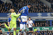 Everton defender Ramiro Funes Mori   clear the ball with a fine header during the Barclays Premier League match between Everton and Tottenham Hotspur at Goodison Park, Liverpool, England on 3 January 2016. Photo by Simon Davies.