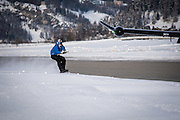 Don't let go! Britain's fastest snowboarder reaches speeds of 78mph as the first person in the world to be towed by a commercial PLANE<br /> <br /> He is known as Britain's fastest snowboarder and his latest stunt saw him speed up even more.<br /> Jamie Barrow, who is on the British Snowboard Cross Team, completed a death-defying stunt in the Swiss resort of St Moritz, as he was towed behind a commercial aircraft.<br /> Inspired by old black and white photos of skiers being taxied by an aircraft slowly around St Moritz Lake over 100 years ago, the 22-year-old decided to try the stunt himself. <br /> <br /> The plane, which Barrow was attached to, reached speeds of 78 miles per hour.<br /> His world's first feat was achieved at the Engadin Airport, in front of stunning snow covered mountains.<br /> The initial plan was to perform the stunt on the frozen lake of St Moritz, but with the ice deemed too unstable, the whole operation was moved to the nearby airport. <br /> St Moritz and the Engadin valley are widely recognised as the birthplace of ski tourism, dating back 150 years.<br /> With temperatures at a crisp -17 degrees and bright sunshine, Barrow hooked on to the PC12 aircraft, flown by Swiss pilot Duri Jos.<br /> In order for Barrow to complete the stunt, a long strip of snow-covered grass running parallel to the runway had been piste-bashed for him to snowboard on while the plane pulled him along.<br /> <br /> Photo shows: Jamie Barrow, 22, became the first person to snowboard while being towed to the back of a commercial aircraft in Switzerland<br /> ©Matt Badenoch/Exclusivepix Media