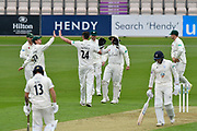 Wicket - Josh Tongue of Worcestershire celebrates taking the wicket of Brad Wheal of Hampshire during the Specsavers County Champ Div 1 match between Hampshire County Cricket Club and Worcestershire County Cricket Club at the Ageas Bowl, Southampton, United Kingdom on 13 April 2018. Picture by Graham Hunt.