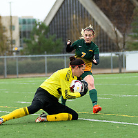 3rd year forward Brianna Wright (7) of the Regina Cougars in action during the Women's Soccer final home game on October 16 at U of R Field. Credit: Arthur Ward/Arthur Images