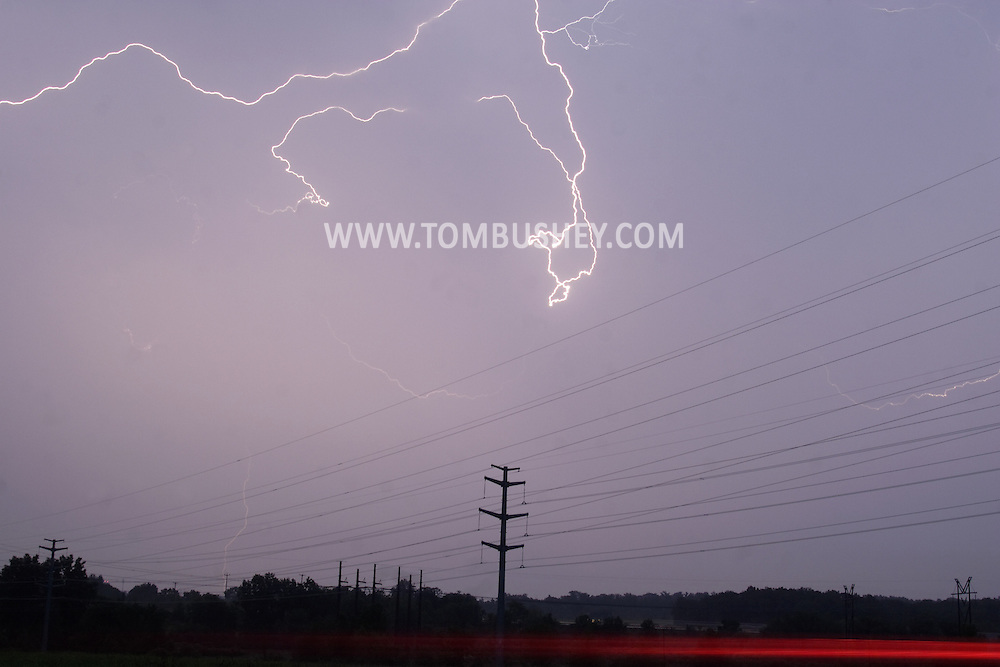 Town of Wallkill, NY  -  Lightning illuminates the sky during a thunderstorm on June 27, 2007.