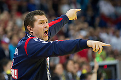 Veselin Vukovic, head coach of Serbia during handball match between Serbia and Croatia in 2nd Semifinal at 10th EHF European Handball Championship Serbia 2012, on January 27, 2012 in Beogradska Arena, Belgrade, Serbia.  (Photo By Vid Ponikvar / Sportida.com)