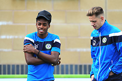 Reece Brown of Forest Green Rovers and Jack Fitzwater of Forest Green Rovers talk before kick-off - Mandatory by-line: Nizaam Jones/JMP - 09/09/2017 - FOOTBALL - New Lawn Stadium - {Nailsworth, England - Forest Green Rovers v Exeter City - Sky Bet League Two