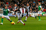 Simeon Jackson of St Mirren shoots for goal during the Ladbrokes Scottish Premiership match between St Mirren and Hibernian at the Simple Digital Arena, Paisley, Scotland on 29th September 2018.