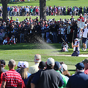Ryder Cup 2016. Matt Kuchar of the United States chips out of the sand trap on the seventeenth in front of massive crowds during practice day at the Hazeltine National Golf Club on September 29, 2016 in Chaska, Minnesota.  (Photo by Tim Clayton/Corbis via Getty Images)