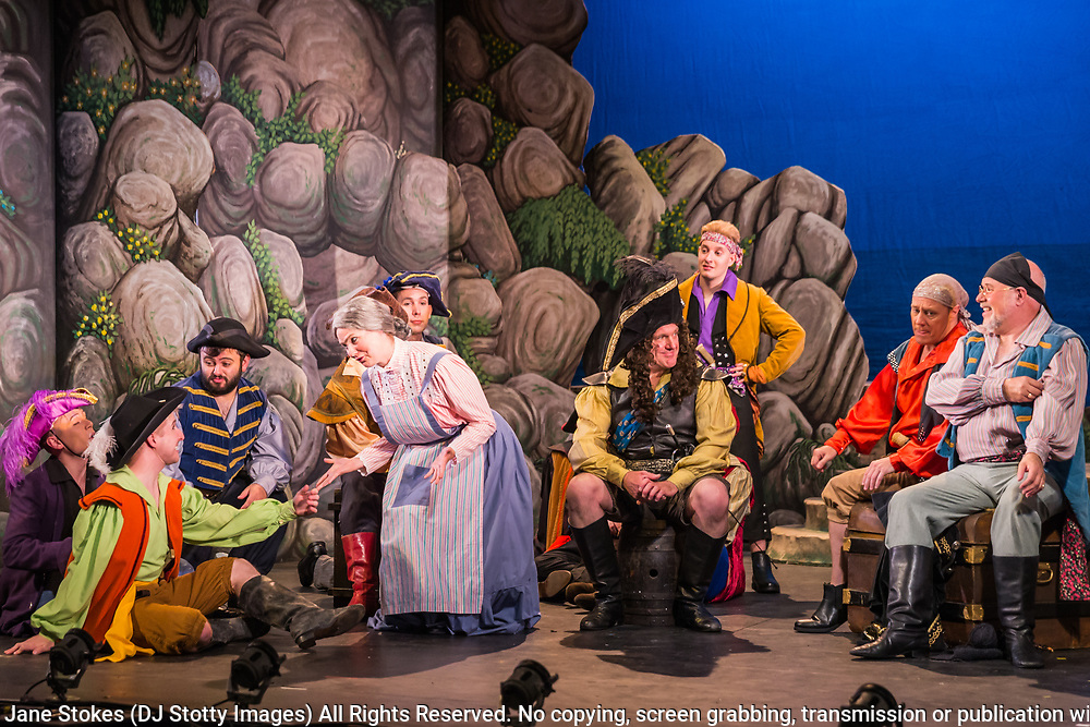 Dress rehearsal for The Pirates of Penzance performed by during the National Gilbert &amp; Sullivan Opera Company Tour in Buxton Opera House Buxton, England on Tuesday 31 July 2018 Photo: Jane Stokes<br /> <br /> DIRECTOR/Richard Gauntlett<br /> CONDUCTOR/Andrew Nicklin<br /> CHOREOGRAPHER/Danielle Dowsett<br /> MAJOR-GENERAL STANLEY/Richard Gauntlett<br /> THE PIRATE KING/Eddie Wade<br /> SAMUEL/Stephen Godward<br /> FREDERIC/Nick Sales<br /> SERGEANT OF POLICE/ Matthew Kellett<br /> MABEL/Ellen Angharad Williams<br /> EDITH/Jennifer Parker<br /> KATE/Stephanie Poropat<br /> ISABEL/Alexandra Hazard<br /> RUTH/Mae Hendorn<br /> <br /> THE CHORUS<br /> Hannah Boxall, Nicole Boardman, Rhiannon Doogan, Joanna Goldspink, Maisy Hepburn, Juliet Montgomery, Julie Power, Eloise Waterhouse, Emma Watkinson<br /> <br /> Andrew Brown, Tom Blackwell, Peter Brooks, Stephen Fawell, Stephen Godward, Michael Vincent Jones, Matthew Siveter, Henry Smith, Jonathan Stevens, Tim Southgate<br /> <br /> TOUR MANAGER/Neil Smith<br /> STAGE MANAGER/Sarah Kent<br /> ASSISTANT STAGE MANAGER/Claire Litton<br /> LIGHTING DESIGN/David Marsden<br /> WARDROBE SUPERVISOR/ David Morgan<br /> SET DESIGN/ Paul Lazell<br /> REPETITEUR/Erica Gundesen