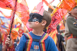 Young boy in fancy dress at the WOMAD (World of Music; Arts and Dance) Festival in reading; 2005,