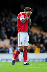 Bristol City's Marlon Pack cuts a dejected figure after Bristol City concede a late goal in the last minute, preventing Bristol City winning their first game in the league - Photo mandatory by-line: Dougie Allward/JMP - Tel: Mobile: 07966 386802 05/10/2013 - SPORT - FOOTBALL - Vale Park - Stoke-on-Trent - Port Vale V Bristol City - Sky Bet League 1