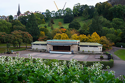 View of old Ross Theatre or bandstand in Princes Street Gardens. A new bandstand is being planned to replace it, Edinburgh, Scotland.