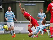 FODBOLD: Victor Nelsson (FC Nordsjælland) tackles af Anders Holst (FC Helsingør) under træningskampen mellem FC Helsingør og FC Nordsjælland den 23. juni 2017 på Helsingør Stadion. Foto: Claus Birch