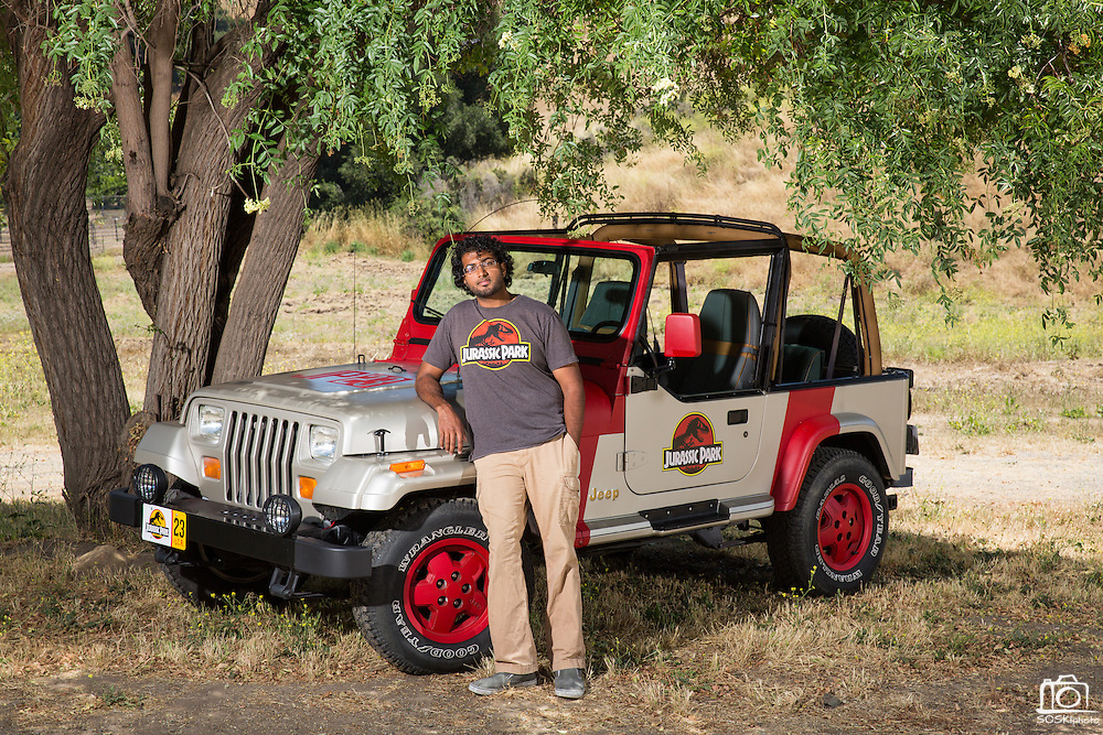 Muhammad Sheikh, 25, of Fremont poses with his homemade Jeep Wrangler replica from the hit movie Jurassic Park in the Calaveras Hills in Milpitas, California, on June 14, 2015. (Stan Olszewski/SOSKIphoto)