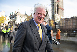 © Licensed to London News Pictures. 04/11/2019. London, UK. Edward Leigh MP arrives at the Houses of Parliament. Leigh is standing as a candidate for new Speaker of the House of Commons, which will be decided by a vote starting later this afternoon. Photo credit : Tom Nicholson/LNP