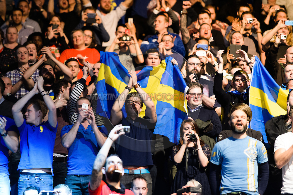 """LONDON, ENGLAND, MARCH 8, 2014: Swedish MMA fans show their support for Alexander Gustafsson (not pictured) during """"UFC Fight Night: Gustafsson vs. Manuwa"""" inside the O2 Arena in Greenwich, London on Saturday, March 8, 2014 (© Martin McNeil)"""