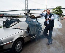 Scottish Lib Dem leader Willie Rennie has fun in South Queensferry in a DeLorean back to the future car.<br /> <br /> © Dave Johnston/ EEm