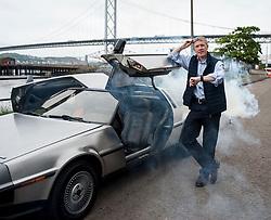 Scottish Lib Dem leader Willie Rennie has fun in South Queensferry in a DeLorean back to the future car.<br /> <br /> &copy; Dave Johnston/ EEm
