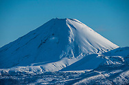 A snow capped Mt Ngauruhoe standing proud.