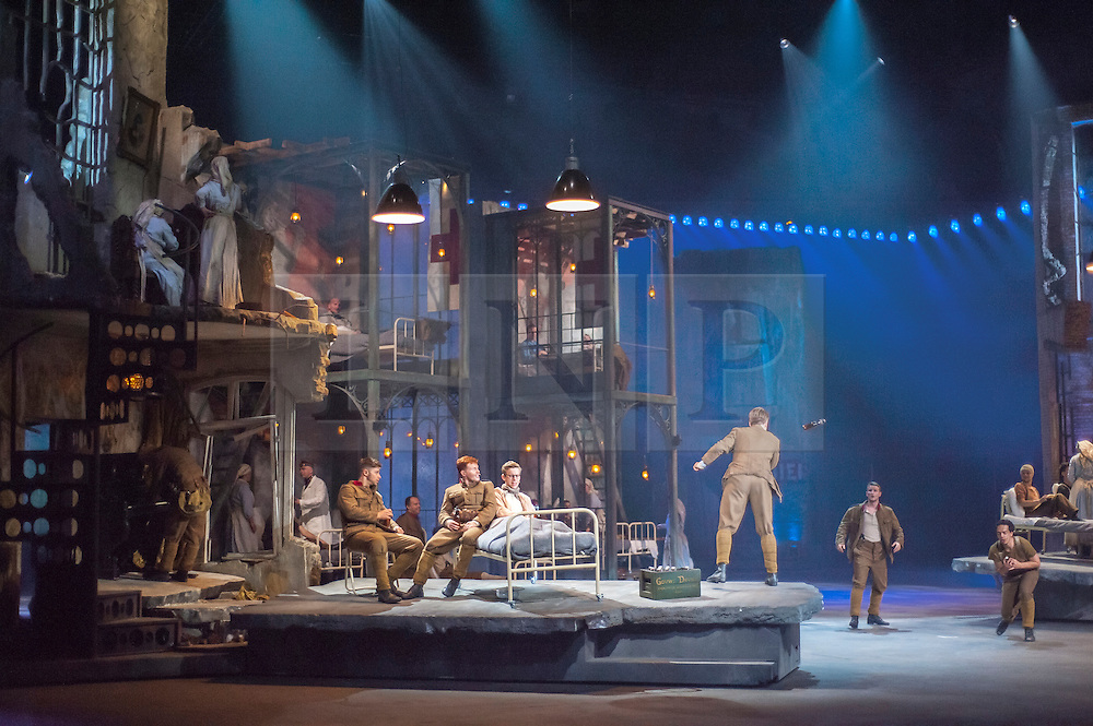 (c)Licensed to London News Pictures. 05/05/2014. Mechelen. Belgium. 14-18, is a spectacular musical, the largest in the world performed in a specially adapted venue in Belgium with a 150m stage comprised of 58,000 separate parts and a moving stage. A story of unconditional friendship and romance set against a backdrop of horror and war. By following the lives of 4 people through the First World War it aims to communicate the turbulent background of World War One to a modern audience in a new and innovative way. Currently performed in Flemish and French, the first English production, with actors Danny Whitehead as FONS and Kayleigh McKnight as ANNA will be May 22 2014. It is a collaboration between Studio100, Laurence Olivier award winning writer and director Frank Van Laecke, Dirk Brosse and Allard Blom. Also suitable for schools with accompanying education packages. Photo credit Carole Edrich/LNP