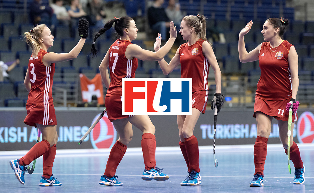 BERLIN - Indoor Hockey World Cup<br /> Women: Kazakhstan - Belarus<br /> foto: Belarus celebrate.<br /> WORLDSPORTPICS COPYRIGHT FRANK UIJLENBROEK