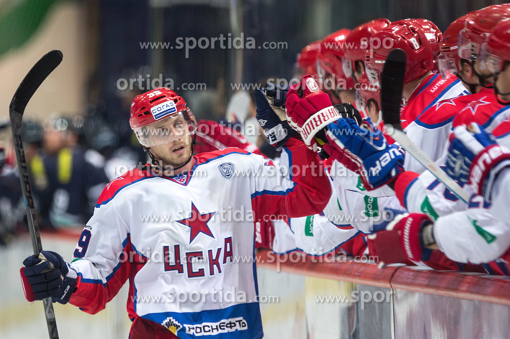 Jan Mursak of CSKA Moscow celebrates after scoring a goal during KHL League ice hockey match between KHL Medvescak Zagreb and CSKA Moscow, on September 18, 2014 in Dvorana Sportova, Zagreb, Croatia. (Photo By Matic Klansek Velej / Sportida)