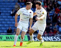 Saracens Chris Ashton celebrates - Photo mandatory by-line: Robbie Stephenson/JMP - Mobile: 07966 386802 - 16/05/2015 - SPORT - Rugby - Oxford - Kassam Stadium - London Welsh v Saracens - Aviva Premiership
