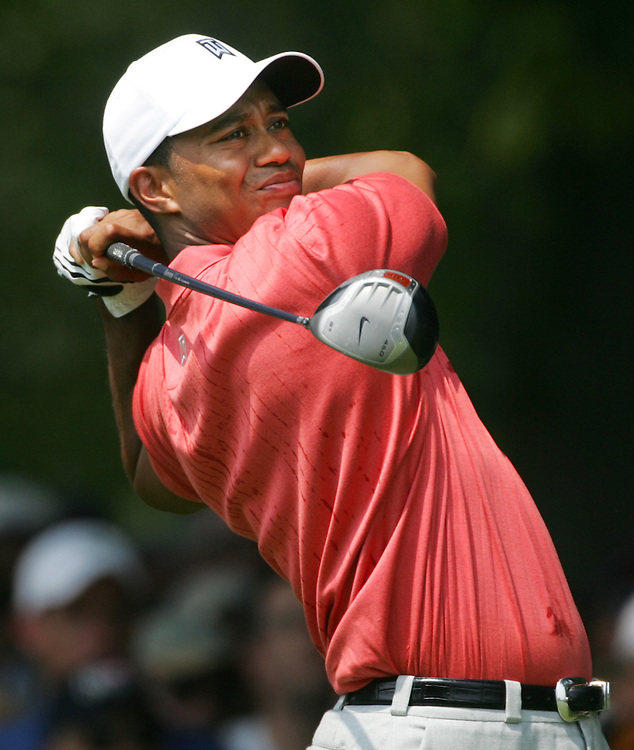 Tiger Woods of the US tees off on the 1st hole during the second round of the 2005 PGA Championship at Baltusrol Golf Club in Springfield, New Jersey, Friday 12 August 2005.