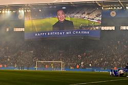 Happier days back in 2017 for Vichai Srivaddhanaprabha, as Leicester City celebrate his birthday (c) Simon Kimber | SportPix.org.uk