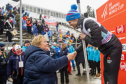 March 9, 2019 - Oslo, NORWAY - 190309 Erna Solberg, Prime Minister of Norway and Robert Johansson of Norway after the men team competition during the FIS Ski-Jumping World Cup on March 9, 2019 in Oslo..Photo: Fredrik Varfjell / BILDBYRÃ…N / kod FV / 150213. (Credit Image: © Fredrik Varfjell/Bildbyran via ZUMA Press)