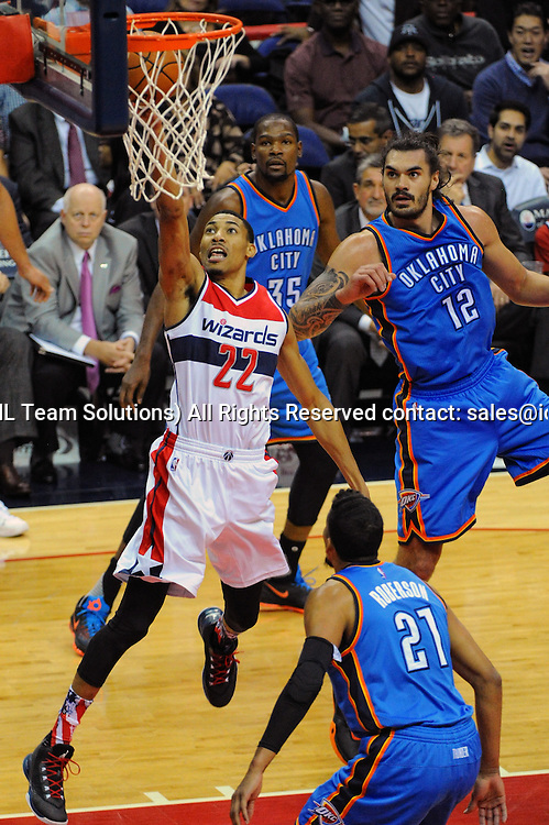 10 November 2015:  Washington Wizards forward Otto Porter Jr. (22) in action against Oklahoma City Thunder center Steven Adams (12) at the Verizon Center in Washington, D.C. where the Oklahoma City Thunder defeated the Washington Wizards, 125-101. (Photograph by Icon Sportswire)
