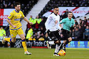 Derby County midfielder Jesse Lingard (16) during the Sky Bet Championship match between Derby County and Sheffield Wednesday at the iPro Stadium, Derby, England on 21 February 2015. Photo by Aaron Lupton.
