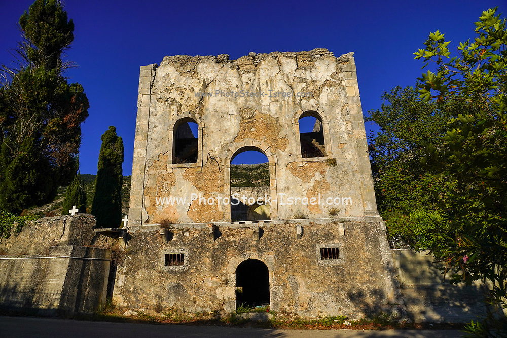 Abandoned Rural parish church and local cemetery on the Island of Cephalonia, Ionian Sea, Greece