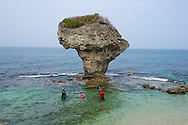 Flower Vase Rock on Little Liuqiu Island, Taiwan.