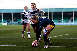 Carys Cox of Worcester Warriors Women scores a try - Mandatory by-line: Robbie Stephenson/JMP - 01/12/2019 - RUGBY - Sixways Stadium - Worcester, England - Worcester Warriors Women v Bristol Bears Women - Tyrrells Premier 15s