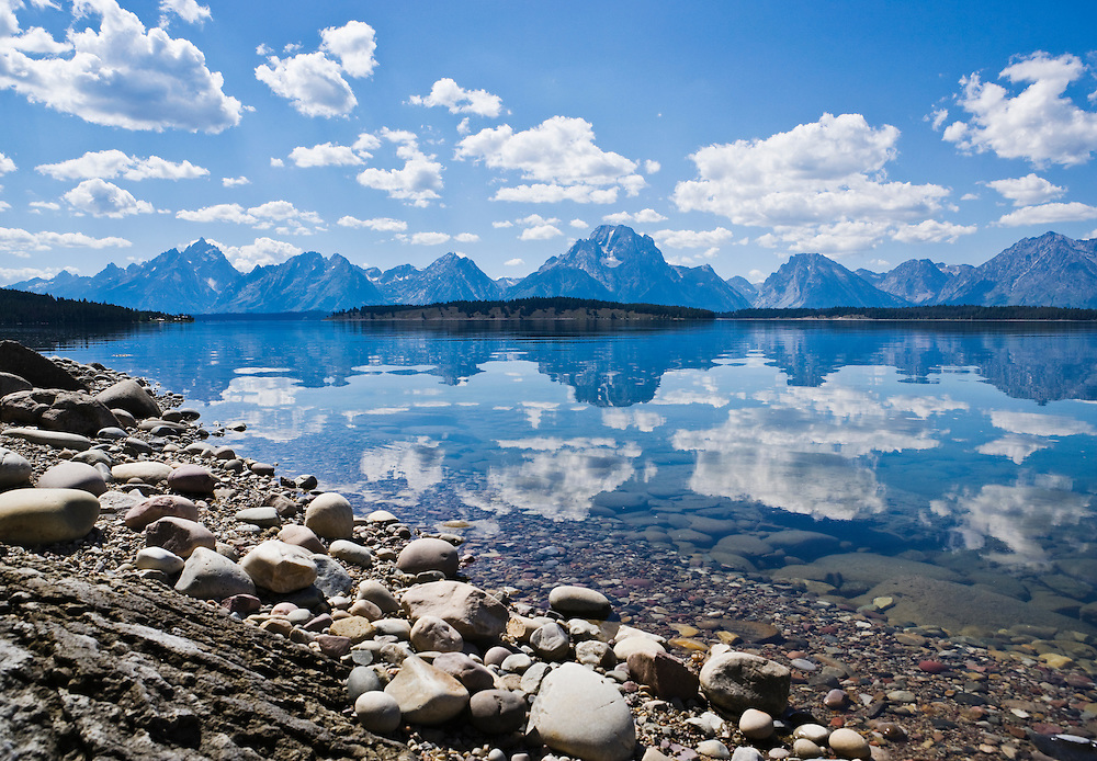 The Teton Range reflected in Jackson Lake, Grand Teton National Park, Wyoming, USA.