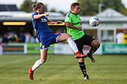 Forest Green Rovers Dayle Grubb(8) beats Leeds United's Luke Ayling(2) to the ball during the Pre-Season Friendly match between Forest Green Rovers and Leeds United at the New Lawn, Forest Green, United Kingdom on 17 July 2018. Picture by Shane Healey.