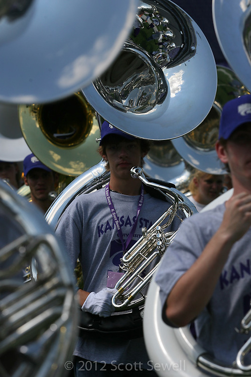 September 1, 2012: The Kansas State University Pride of Wildcat Land Marching Band at Game 1 on Saturday, September 1, 2012.