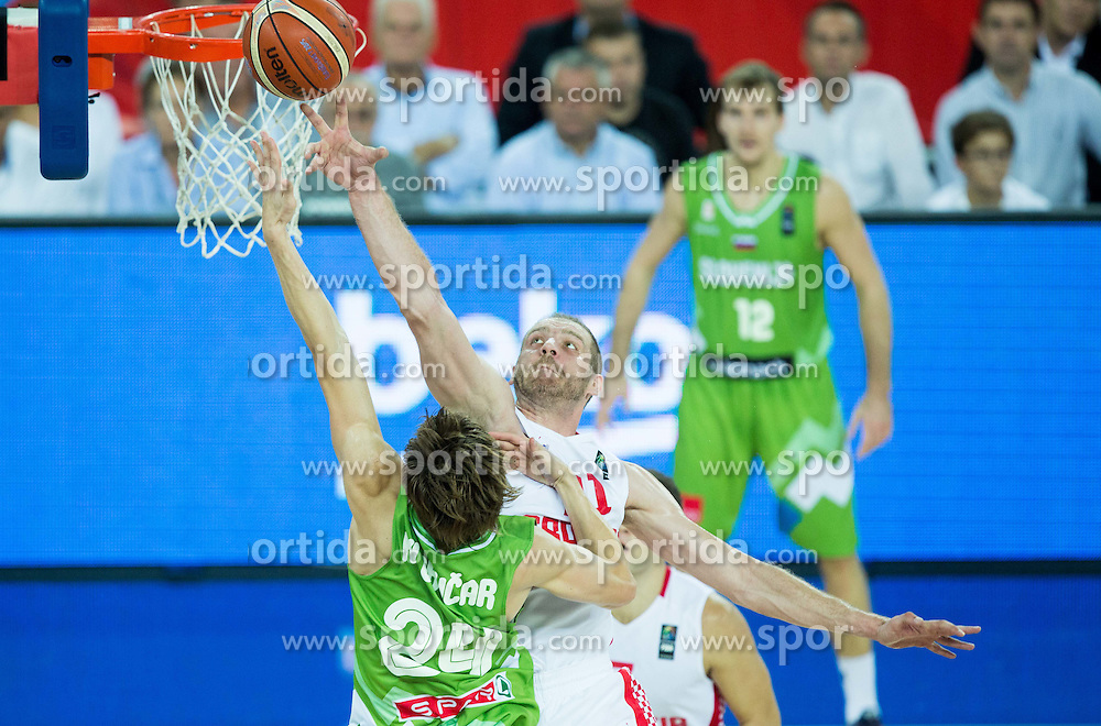 Jaka Klobucar of Slovenia vs Luka Zoric of Croatia during basketball match between Croatia and Slovenia at Day 1 in Group C of FIBA Europe Eurobasket 2015, on September 5, 2015, in Arena Zagreb, Croatia. Photo by Vid Ponikvar / Sportida