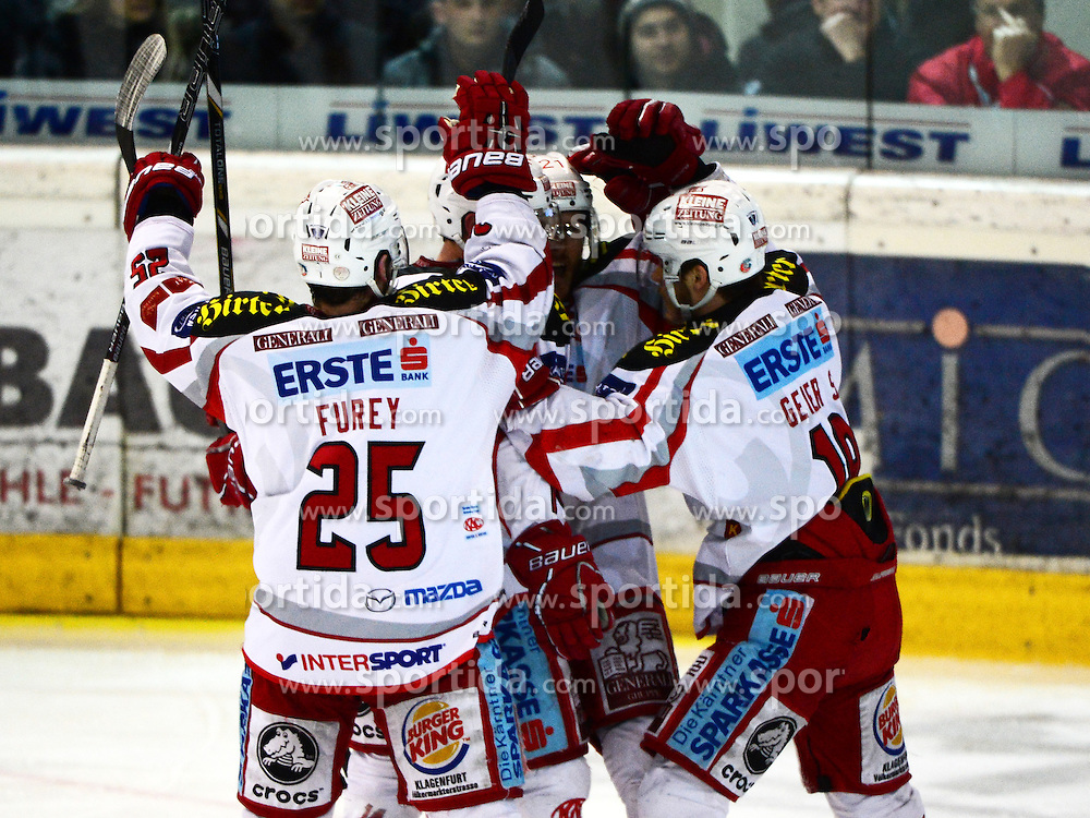 22.03.2013, Keine Sorgen Eisarena, Linz, AUT, EBEL, EHC Liwest Black Wings Linz vs EC KAC, Playoff Halbfinale, 5. Spiel, im Bild der KAC feiert (EC KAC, #) // during the Erste Bank Icehockey League playoff semifinal 5th match between EHC Black Wings Linz and EC KAC at the Keine Sorgen Icearena, Linz, Austria on 2013/03/22. EXPA Pictures © 2013, PhotoCredit: EXPA/ Reinhard Eisenbauer