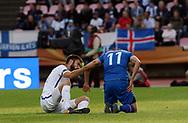 2.9.2017, Ratina Stadion, Tampere, Finland.<br /> FIFA World Cup 2018 Qualifying match, Finland v Iceland.<br /> Tim Sparv (Finland) & Alfred Finnbogason (Iceland).
